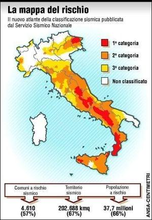 Mappa rischio sismico Italiano