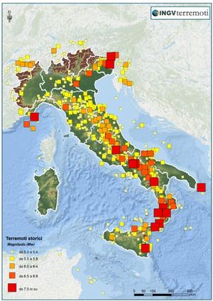 Mappa sismica terremoti italiani